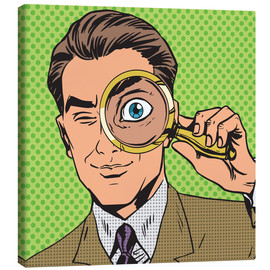 Stampa su tela  Detective with magnifying glass