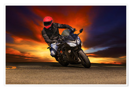 Poster Premium Motorcyclist in a curve
