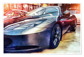 Poster Premium  Sports car with reflecting surface