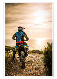 Poster  Enduro racer on the coast