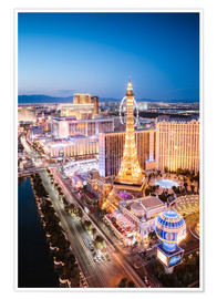 Poster Premium  Eiffel tower on the Strip at night, Las vegas, Nevada, USA - Matteo Colombo