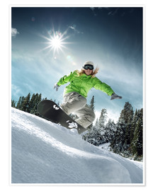 Poster Premium  Snowboarder on a slope