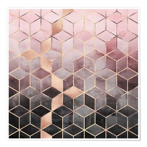 Poster Pink And Grey Gradient Cubes