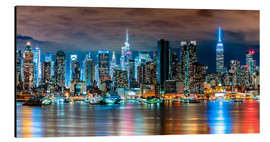 Alluminio Dibond  New York, Midtown Skyline by Night - Sascha Kilmer