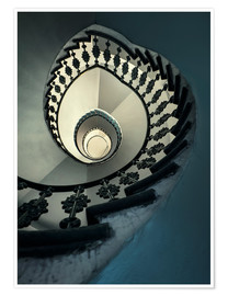 Poster Premium Spiral staircase in beige and blue