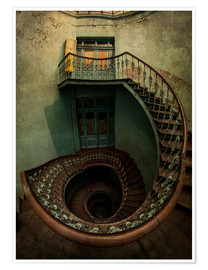 Poster Premium Spiral staircase in an old building