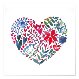 Poster  flowery heart