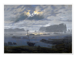 Poster Premium Nordic sea in the moonlight