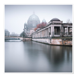 Poster Premium Berlin Cathedral in winter fog