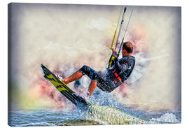 Stampa su tela  Kitesurfer on waves - Peter Roder