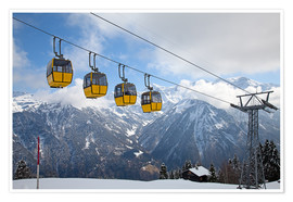 Poster Premium  Cable car in the Alps