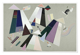 Poster Premium  Untitled (Composition with Grey Background) - Wassily Kandinsky