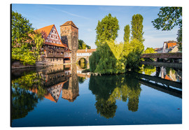 Stampa su alluminio  Old timbered houses and hanging tower, Nuremberg, Middle Franconia, Bavaria, Germany, Europe - Michael Runkel