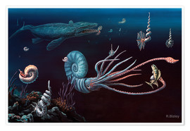 Poster  Cretaceous marine animals, artwork - Richard Bizley