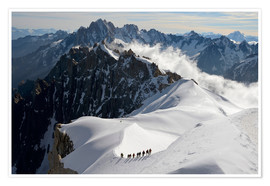 Poster Premium  Mountaineers and climbers, Aiguille du Midi, Mont Blanc Massif, Chamonix, Haute Savoie, French Alps, - Peter Richardson