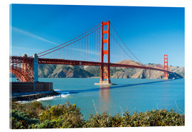 Stampa su vetro acrilico  The Golden Gate Bridge in San Francisco with beautiful blue ocean in background