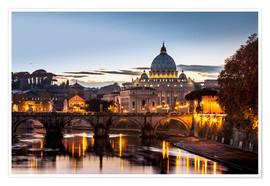 Poster Premium  Saint Peter's Basilica, the world's largest church, at sunset, Vatican City, Italy - Reynold Mainse