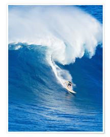 Poster Premium  Extreme surfer riding giant ocean wave in Hawaii