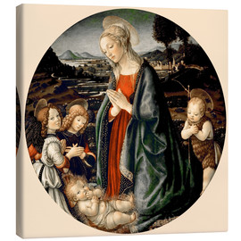 Stampa su tela  The Virgin Adoring the Christ Child with St. John the Baptist and Two Angels - Sandro Botticelli