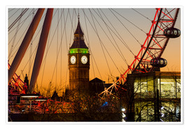 Poster Premium  London Eye (Millennium Wheel) frames Big Ben at sunset, London, England, United Kingdom, Europe - Charles Bowman
