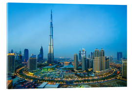 Stampa su vetro acrilico  Burj Khalifa and Downtown Dubai at dusk, Dubai, United Arab Emirates, Middle East - Fraser Hall