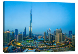 Stampa su tela  Burj Khalifa and Downtown Dubai at dusk, Dubai, United Arab Emirates, Middle East - Fraser Hall