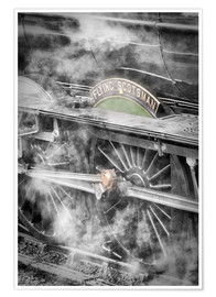 Poster Premium  The Flying Scotsman steam locomotive arriving at Goathland station on the North Yorkshire Moors Rail - John Potter