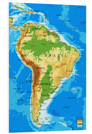Stampa su schiuma dura  South America - Topographic Map