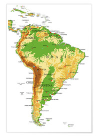 Poster Premium  South America - Topographic Map