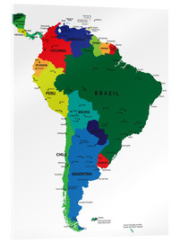 Stampa su vetro acrilico  South America - Political Map