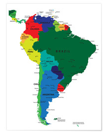 Poster Premium South America - Political Map