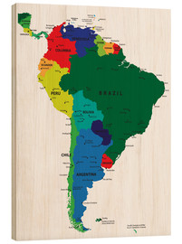 Stampa su legno  South America - Political Map