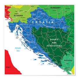 Poster Premium Croatia - Political Map