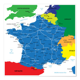 Poster Premium France - Political Map