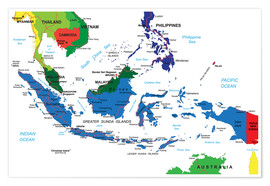 Poster Premium Indonesia - Political map, before 2002