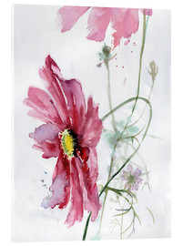 Stampa su vetro acrilico  Cosmos flower watercolor - Verbrugge Watercolor