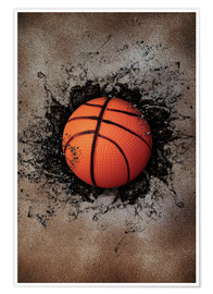 Poster Premium  Stone wall and basketball