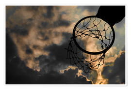 Poster Premium  Basketball hoop and sky