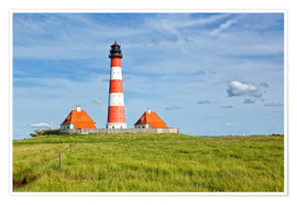 Poster Premium  Westerhever Lighthouse at the North Sea coast