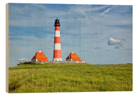 Stampa su legno  Westerhever Lighthouse at the North Sea coast