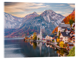 Stampa su vetro acrilico  Hallstatt, Austria in the Autumn - Mike Clegg Photography