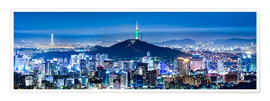 Poster Premium  Seoul panorama at night overlooking Namsan and N Seoul Tower - Jan Christopher Becke