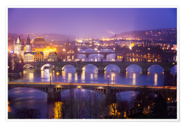 Poster  Prag with Vltava at dusk - Frank Fischbach