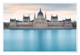Poster Premium  Hungarian Parliament with Danube, Budapest - Frank Fischbach