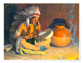 Poster Premium  The chief song - Eanger Irving Couse
