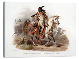 Stampa su tela  A Blackfoot indian on horseback - Karl Bodmer
