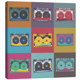 Stampa su tela  colorful cassettes