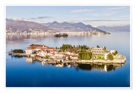 Poster Premium Isola Bella on Lake Maggiore at sunset, Italy