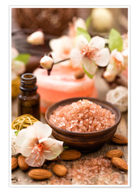 Poster  Bath salt in wooden bowl