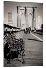 Stampa su vetro acrilico  Bench on Brooklyn Bridge - Denis Feiner